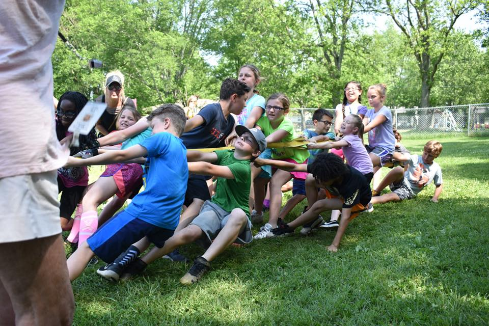 Kids playing tug-o-war