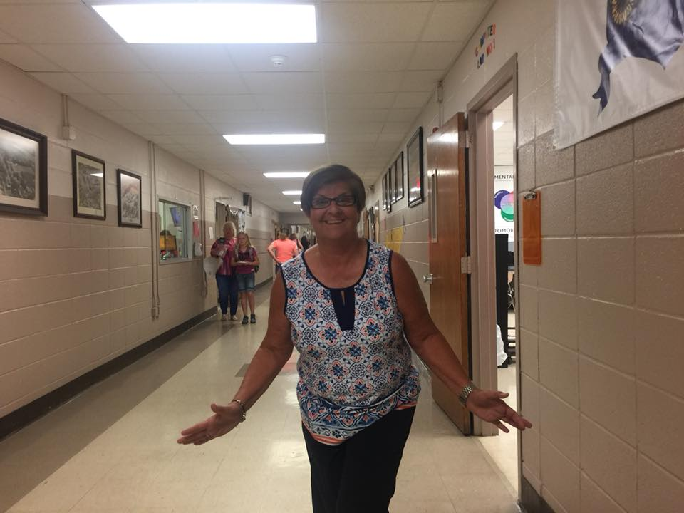 Karen Duke in the hallway