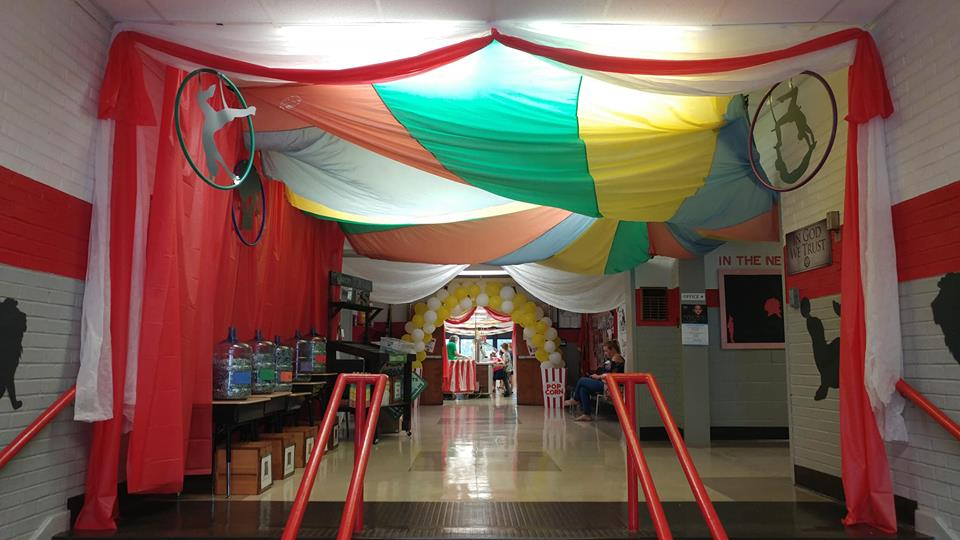 School entrance as a circus