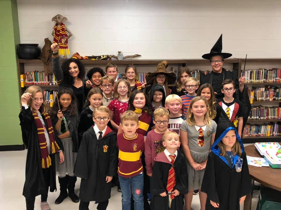 A group dressed as Harry Potter characters