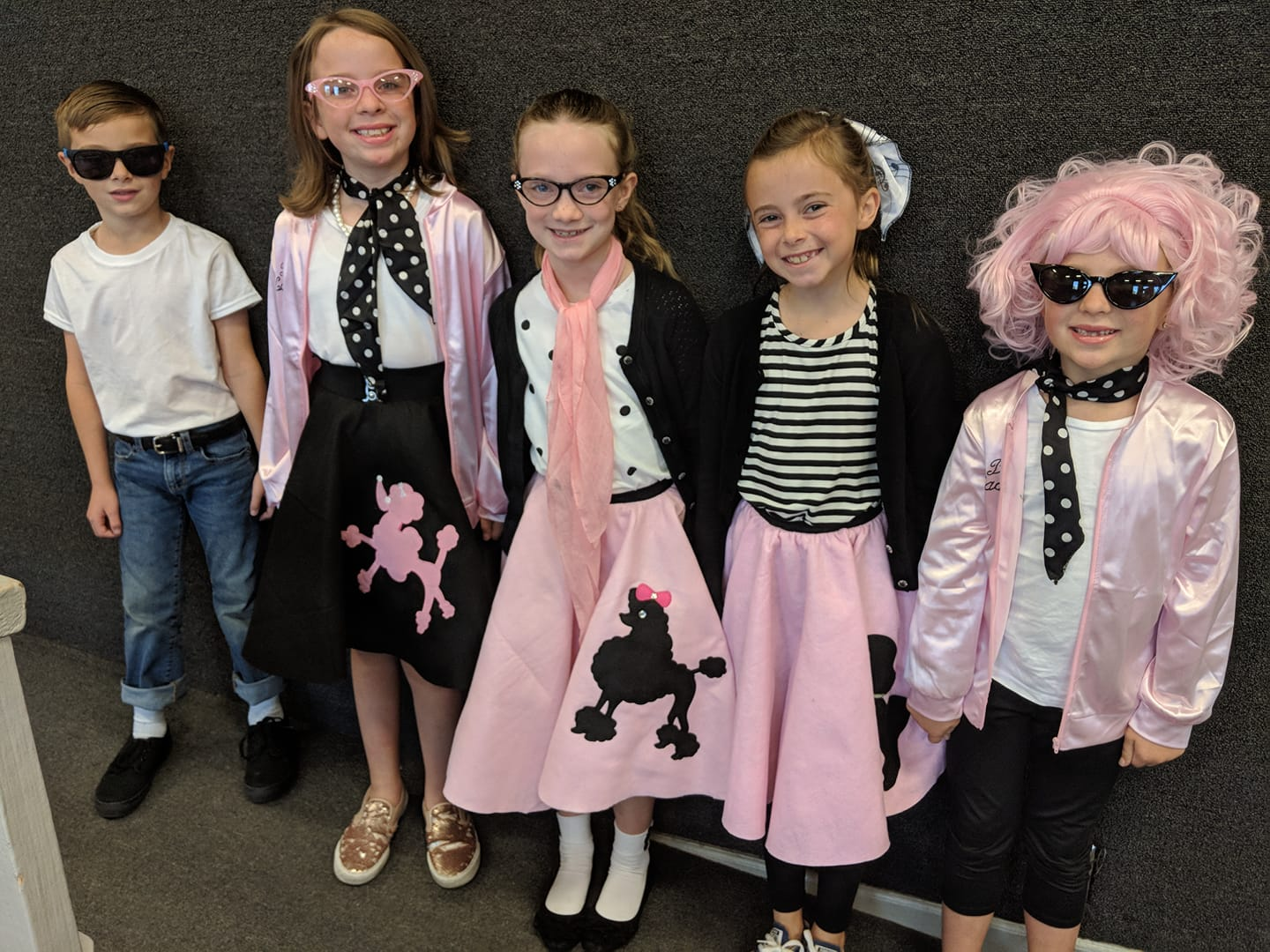 Students dressed in 50's attire for Red Ribbon Week