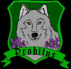 House Probitus wolf with green background