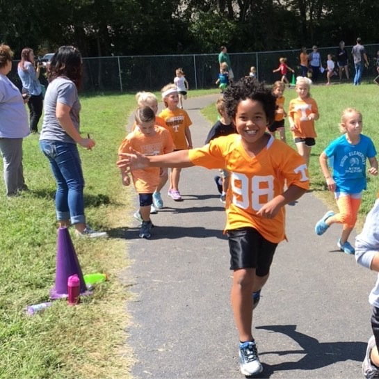 Children running in the Fun Run