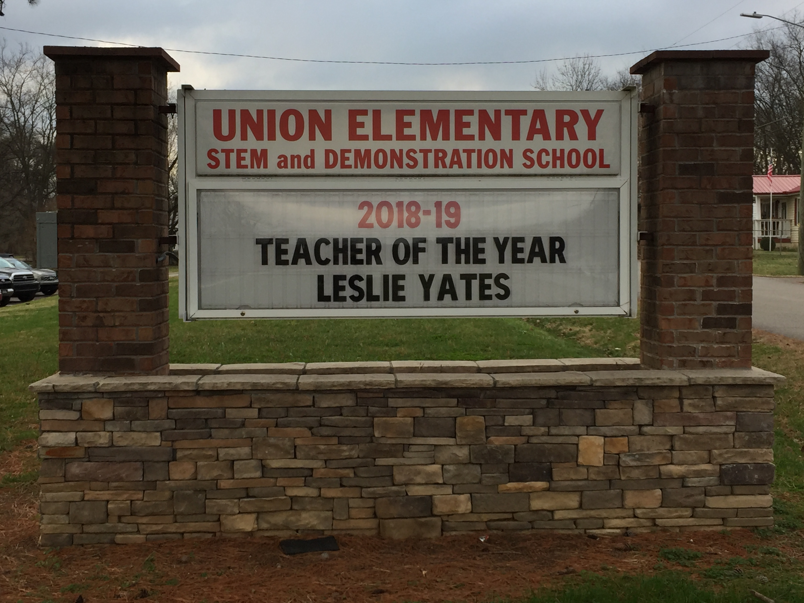marquee with teacher of the year announcement