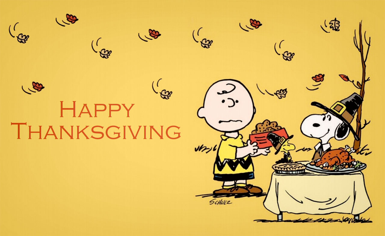 Picture of Charlie Brown and Snoopy at Thanksgiving